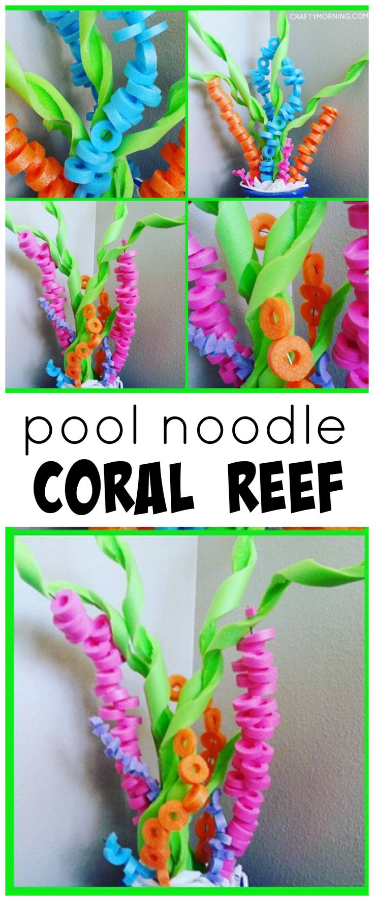 Pool noodle coral reef craft for an under the sea party with kids!