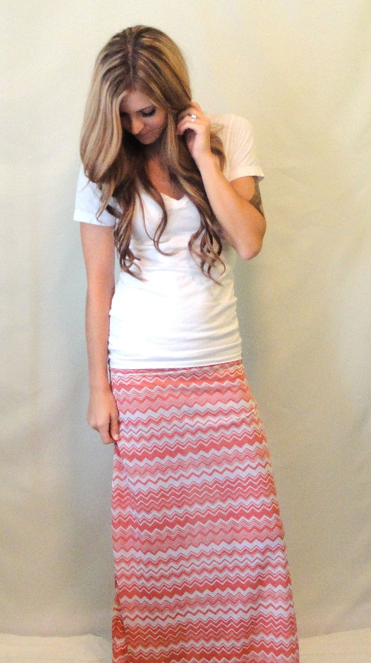 Chevron Maxi Skirt Coral and White Long Skirt by OAKscarves