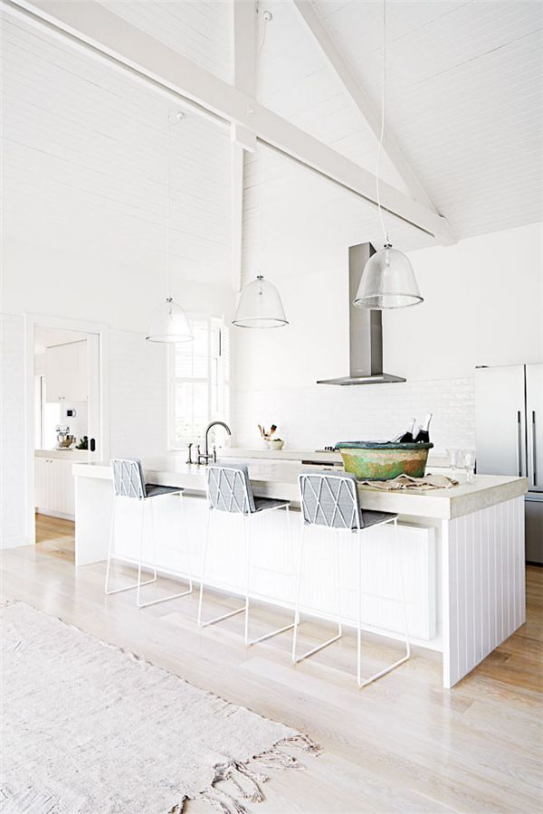 white | concrete counters | blonde wood