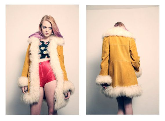 60s 70s Fur Lined Coat in Yellow by NBDVINTAGE on Etsy, $228.00  Vintage Clothing Jacket 60s 70s beatles hippie coat leather suede fur lined woodstock hipster psychedelic vintage yellow