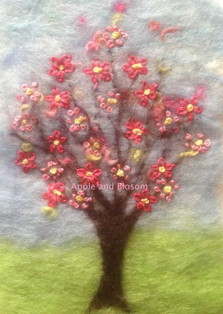 'Vintage Blossom' - Embroidered Painting With Wool  A tree smothered in hand embroidered blossom. Created by Mary Spence at Apple and Blossom