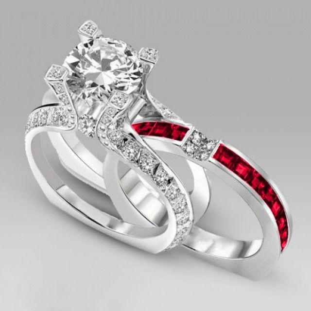 Amazing Two-in-one Big Round Cut Diamond Wedding Ring Set With Red Ruby