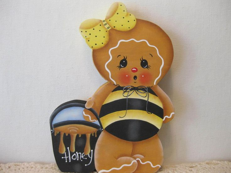 HP Gingerbread Honey SHELF SITTER hand painted USA