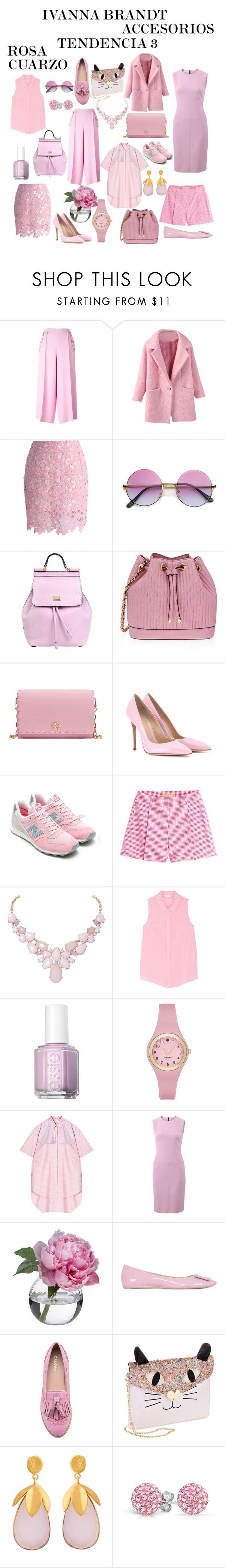 """ROSA CUARZO"" by ivanna16 on Polyvore featuring moda, Emilio Pucci, Chicwish, Dolce&Gabbana, Henri Bendel, Tory Burch, Gianvito Rossi, New Balance, Michael Kors y Humble Chic"