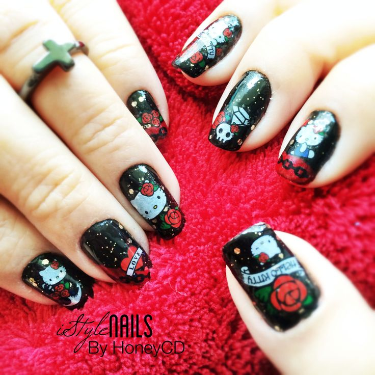 72 best my nail art designs images on pinterest nail art designs ed hardy hello kitty tattooed nail art design hand painted based polish and prinsesfo Choice Image