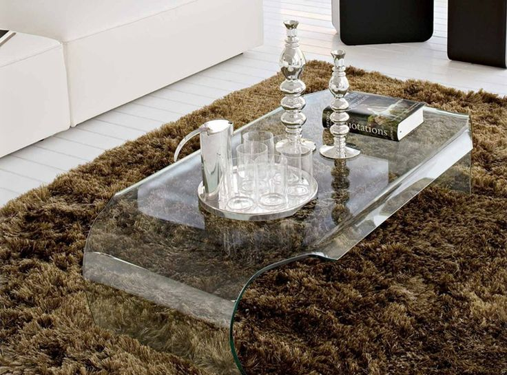 Table Basse CURVE en Verre courbé 12 mm Transparent