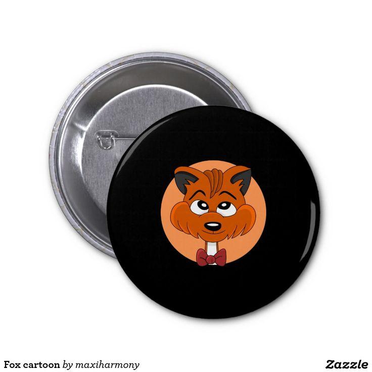 Fox cartoon 2 inch round button