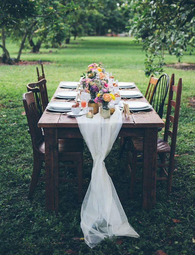 could be fun for a wedding if ya had the $$...go to goodwill/yard sales and get all mismatched tables and chairs. Burlap/lace runner and flowers. TOO CUTE!