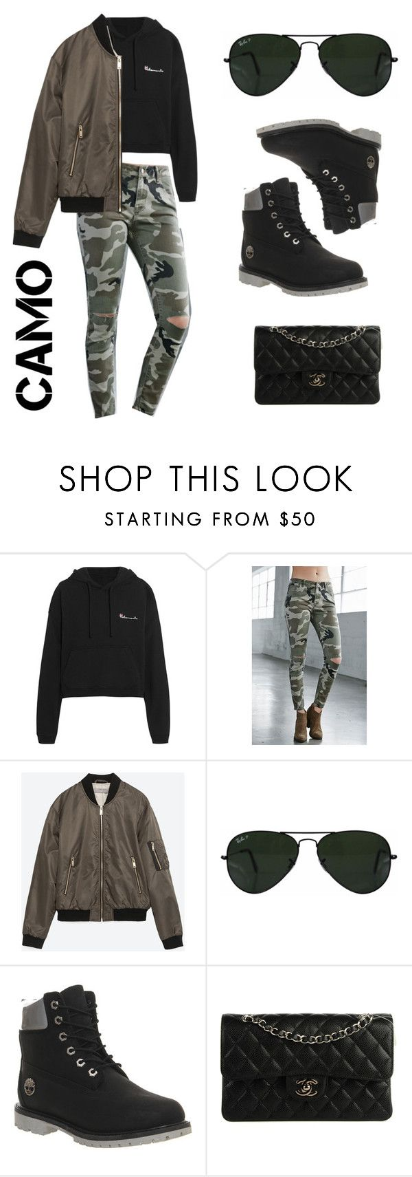 """Black with a touch of camo"" by zunnetch ❤ liked on Polyvore featuring Vetements, Bullhead Denim Co., Zara, Ray-Ban, Timberland, Chanel and camostyle"