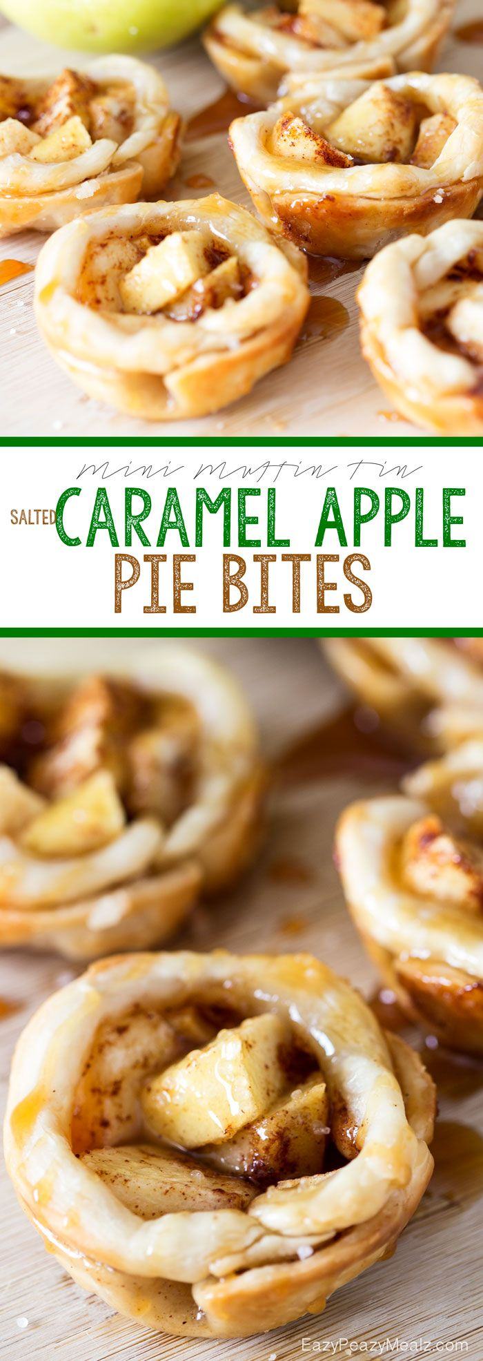 Mini Muffin Tin Salted Caramel Apple Bites that are super easy to make. Buttery, flakey, cinnamon, salted caramel, deliciousness!