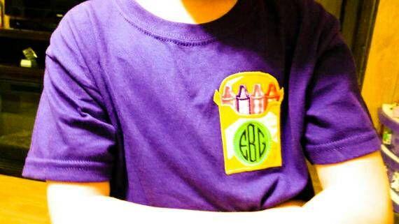 Check out Crayon Box - Crayon Monogram - Back To School - Monogram Gift - Teacher Gift - Monogrammed Shirt - Personalized Shirt - Crayon Shirt on sweetbabycakesbows