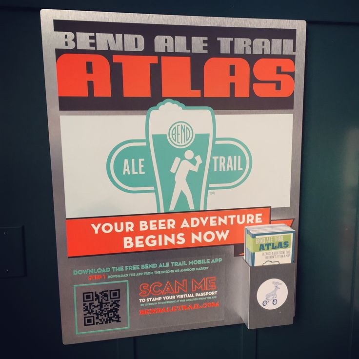 Bend Ale Trail metal sign and map distribution kiosk. The Bend Ale Trail - a self-guided craft beer tour in Bend, Oregon - is the largest beer trail in the West and was the first beer tour of its kind in the world. http://www.bendaletrail.com