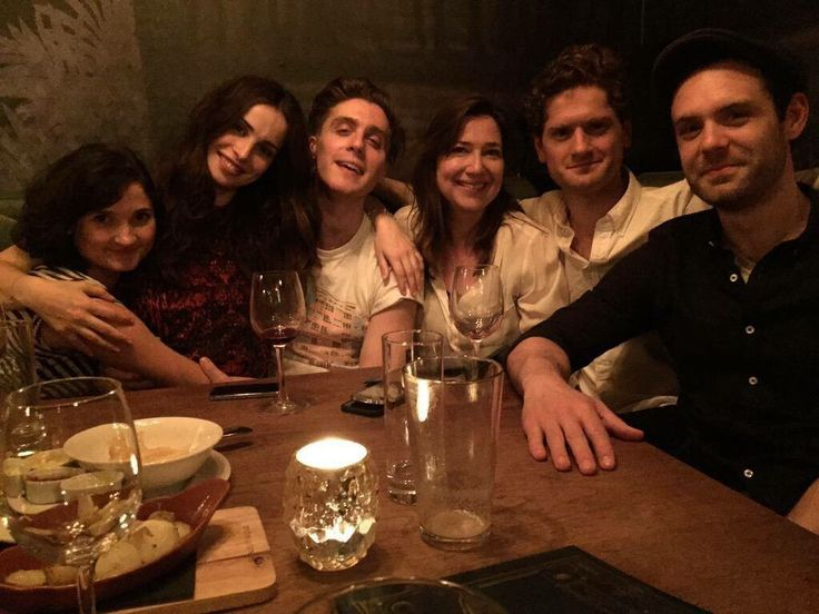 They are so cute!!! Cast Celebrating The Release Of Poldark On DVD... Ruby Bentall (Verity), Heida Reed (Elizabeth), Jack Farthing (George Warleggan), Karen Thrussell (Executive Producer), Kyle Soller (Francis) and Luke Norris (Dr Dwight Enys)