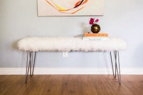 Hairpin Leg Bench-she used Ikea faux sheepskin. Nice for entry, end of bed, and smaller one for vanity bench !
