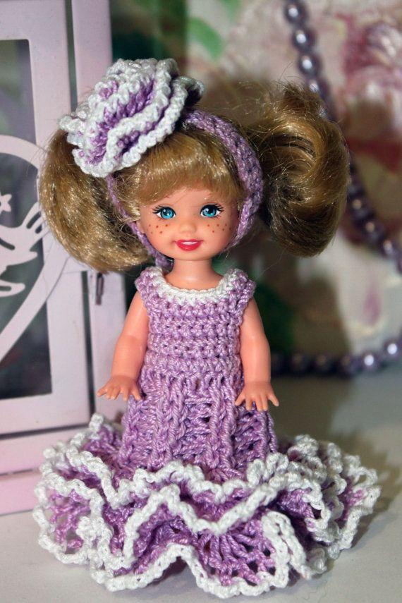 Clothes  Crochet dress for Kelly 4,5 inches Doll  Handmade Miniature Crochet dress