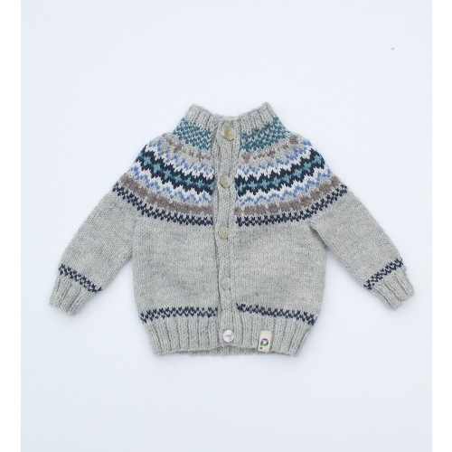 Picaloulou Hand Knitted Baby Fair Isle Cardigan