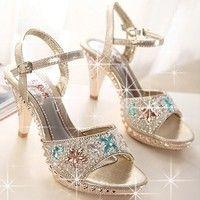 Wish | Women's Fashion Sexy Fish Head Thin Heel Sandals Hollow Diamond High-heeled Shoes