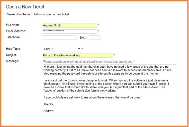IDplr support page. Filling in the form to contact support.