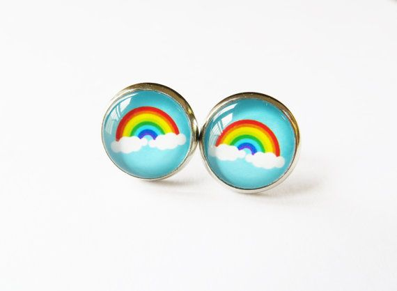 Pretty pair of Rainbow earrings. The earrings are designed for pierced ears and made of Silver tone plated brass and clear glass domes (12mm in diameter). They come in an organza bag ready for gift giving.  This item is not waterproof. Please avoid direct contact with water. If you have any questions regarding shipping and payment, please take a look at my shop policies: http://www.etsy.com/uk/shop/LadyMangoJewellery/policy?ref=shopinfo_policies_leftnav