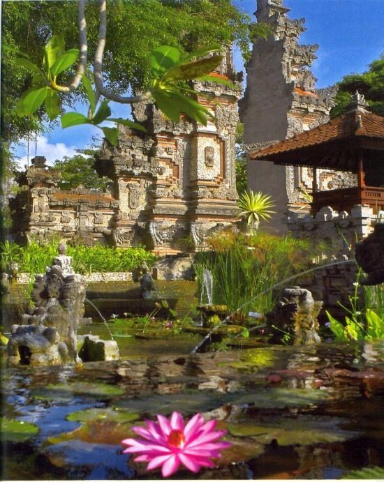Beautiful gate and lotus ponds at Nusa Dua Beach hotel