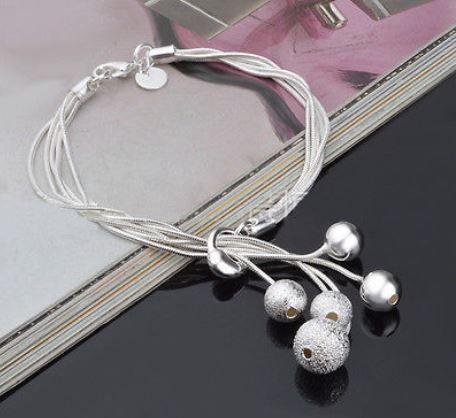 Armband - 925 Silver belagt med 5 silver kulor