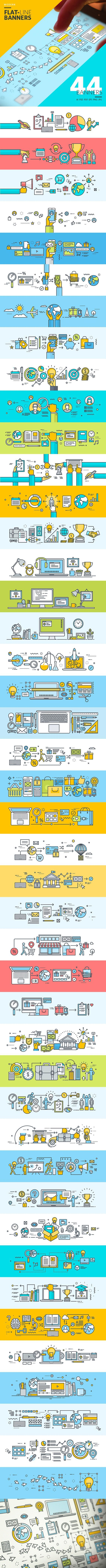 64 Best Flat Design Picture Images On Pinterest Walls Animation Circuit Board By Coldbroken Deviantart Set Of Modern Line Banners Behance