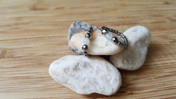 Collection Pure // Bague Aigue Marine et Hématites par Piuvita #bijoux #jewels #stone #pierresemiprecieuse #rings #bagues #handmade #faitmain #aiguemarine #aquamarine #jewelry #madeinfrance #fabricationfrancaise #silver925 #argent925 #bijoufin