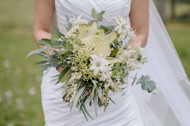#white waratah, #native flowers #australian natives #flannel flowers #country style #waratah Bridal bouquet