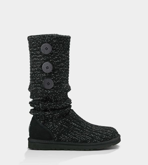 UGG CLASSIC CARDY METALLIC BLACK / SILVER FOR WOMEN