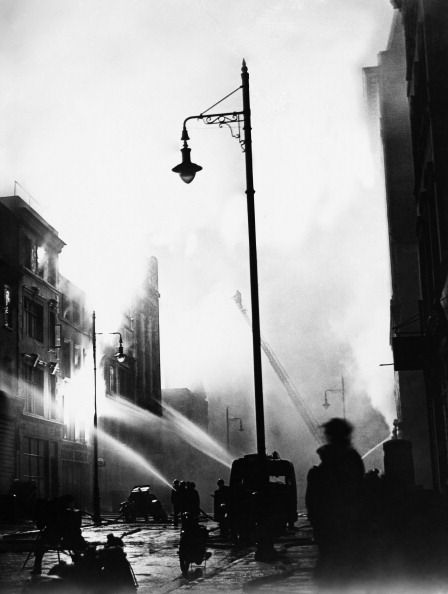 Water jets and smoke at a fire during the Blitz, London  1940. (Photo by Keystone-France/Gamma-Keystone via Getty Images)
