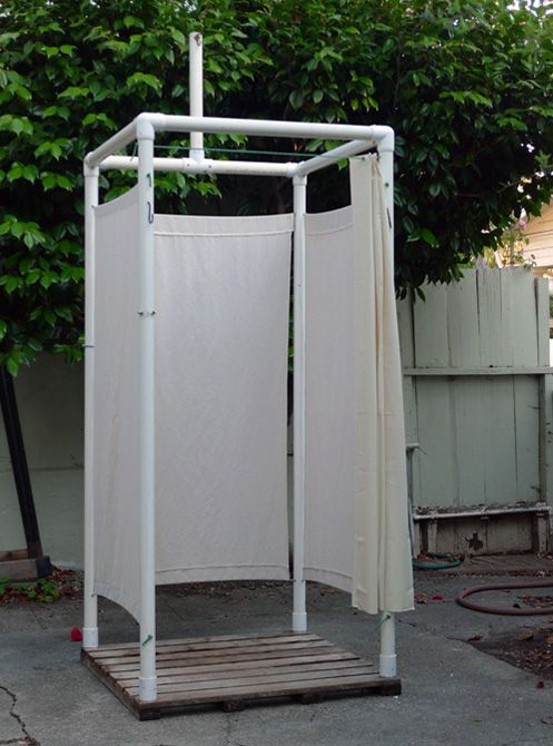 Camp shower made with pvc pipes. Hang camp shower bladder on the tall pole at the top. http://www.amazon.com/dp/B000VNITQS/ref=wl_it_dp_o_pC_nS_ttl?_encoding=UTF8&colid=36WKQNA9YH8PS&coliid=IB8AB9J69R6BN
