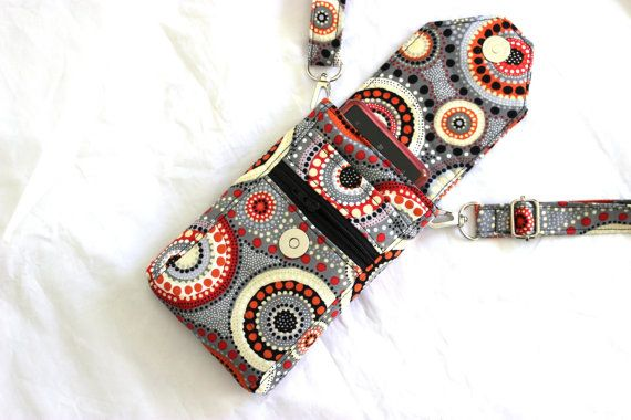 Cell phone purse - mobile phone bag - small crossbody purse - cellphone pouch - cell phone sling - gray grey orange and black MADE to ORDER