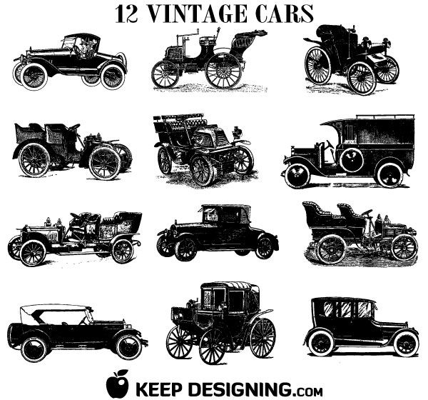 015 old vintage car vectors free