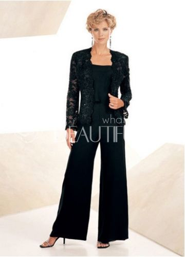 Classic Chiffon Square Lace Mother Of The Bride / Groom Pants Suit. Features a bud silk coat with long sleeve and long pants design. Color: Black. 221.99