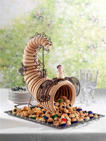 The original variant of kransekage (marzipan ring-cake) used at weddings is called overflødighedshorn (horn of abundance) and is shaped like a cornucopia and filled with chocolates, cookies, and other small treats. Sometimes a bottle of wine or akvavit is placed in the center, and the cake is decorated with ornaments such as crackers and flags.