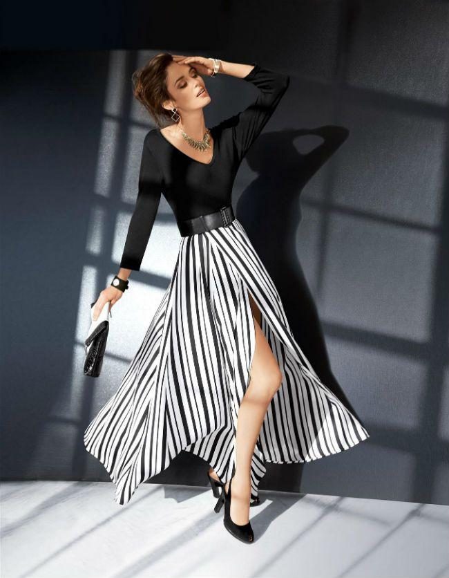 rok in Zwart/wit-strepen zijn een topthema. Hier spectaculair ingezet voor een lange, ongevoerde, gestreepte rok in wikkellook met lange loopsplit,  Meer http://www.pops-fashion.com/?p=9314