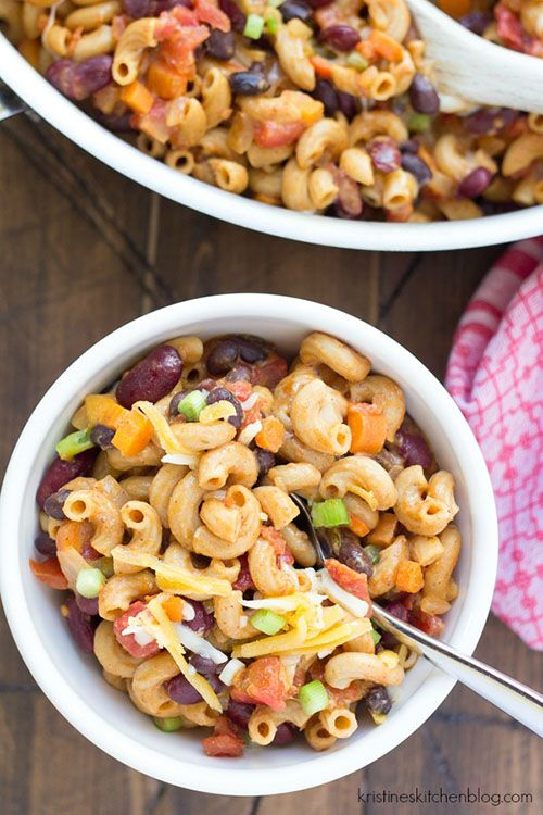 One-pot vegeterian chili mac recipe. So easy, and packed with protein from beans.  | Kristine's Kitchen