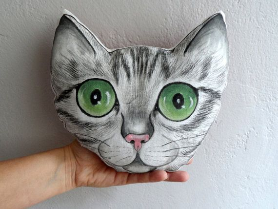 Cat Pillow Handpaint Tabby Cat Portrait plush by ShebboDesign, #decorativepillow #plush #cute  #cat #forkids #nursery decor #handmade #handpaint