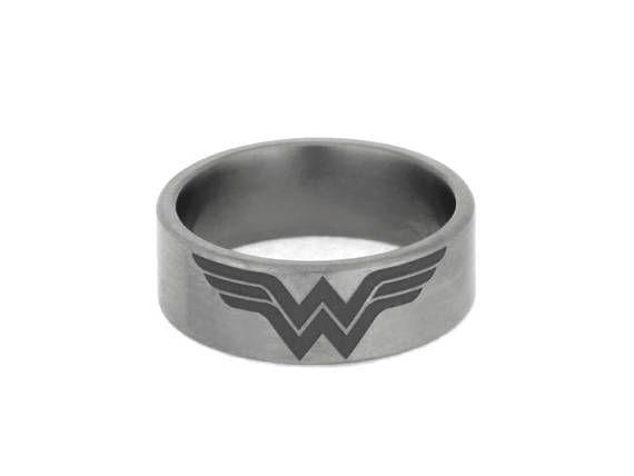 Wonder Woman Titanium Ring Personalized Superhero Ring Comic