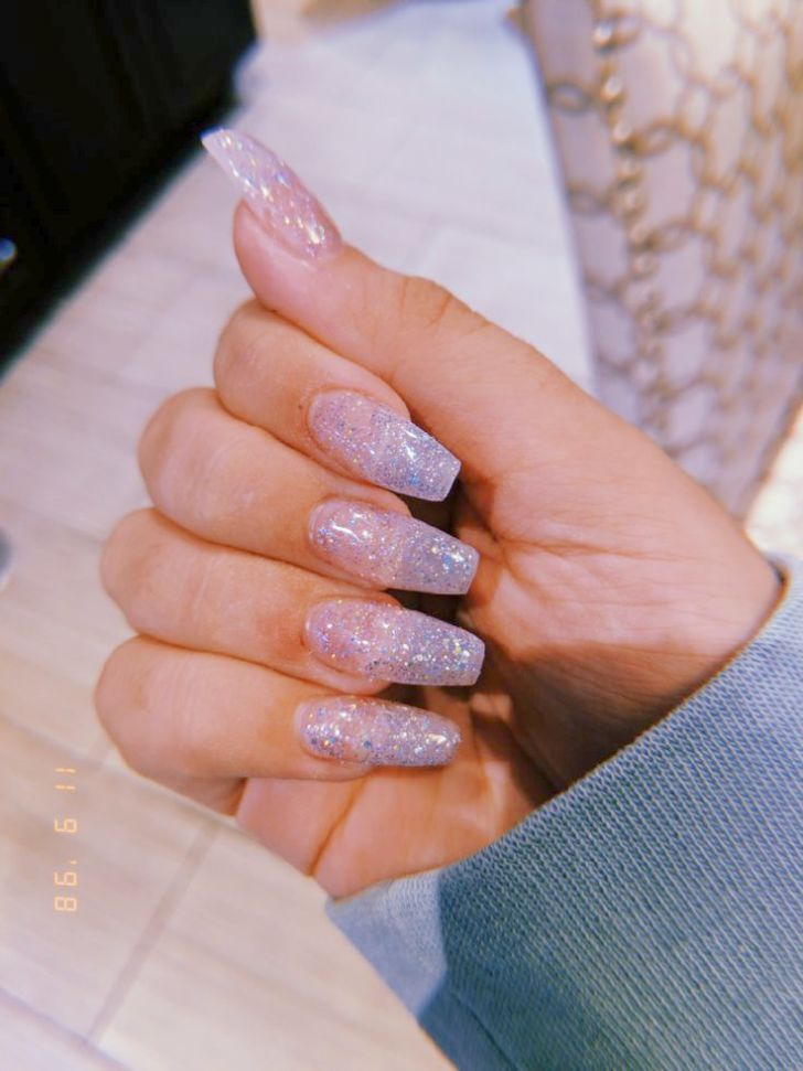Home Blend Of Bites Glitter Nails Acrylic Clear Glitter Nails Pretty Acrylic Nails