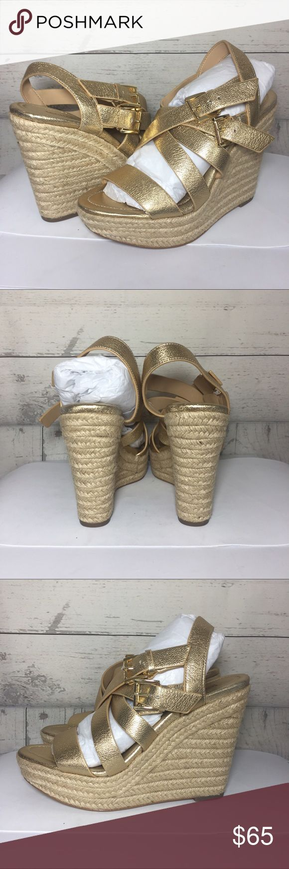 "Michael kors gold wedges 7m Michael Kors Wedge Gold Espadrille Metallic 7M Summer 4.5"" Heel Michael Kors Shoes Wedges"
