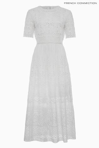 French Connection White Hesse Broderie Maxi Dress
