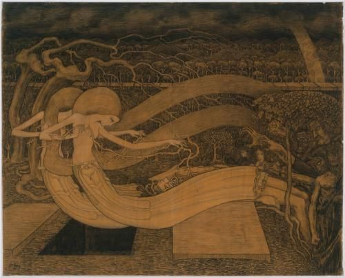 Jan Toorop  (1858 - 1928) - O grave, where is thy Victory - dessin  1892