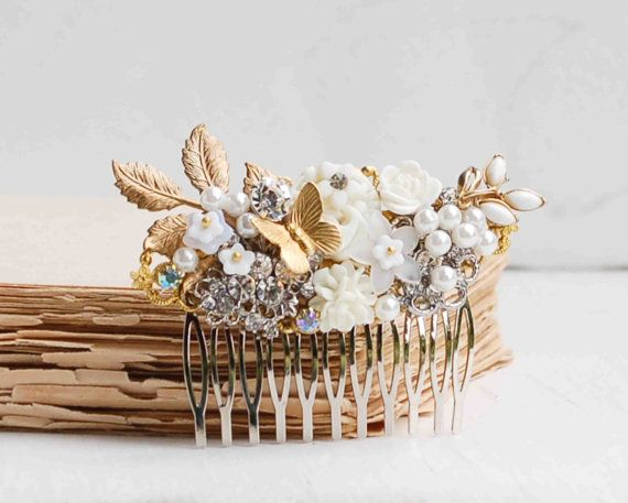 WHITE Bridal HAIR COMB Gold Vintage Hair by redtruckdesigns