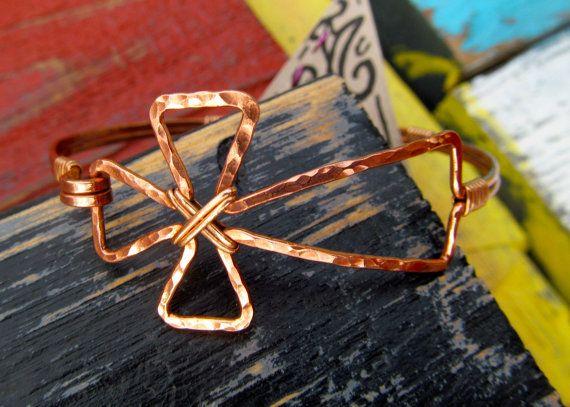 Copper cross bracelet with brass, Wire wrapped Copper Cross Bracelet, Christian bracelet, cross, hammered Cross, Copper cross Jewelry on Etsy, $65.00