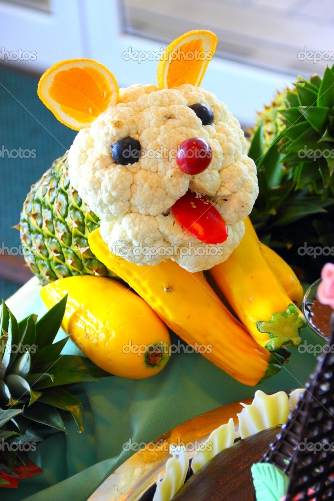 Beautiful dog made by food carving cute display fresh