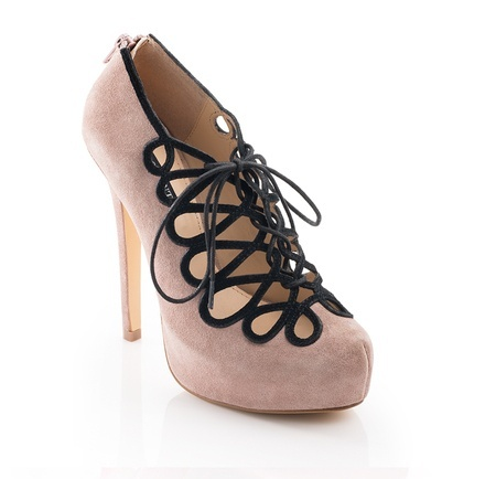 Lace up nude heels