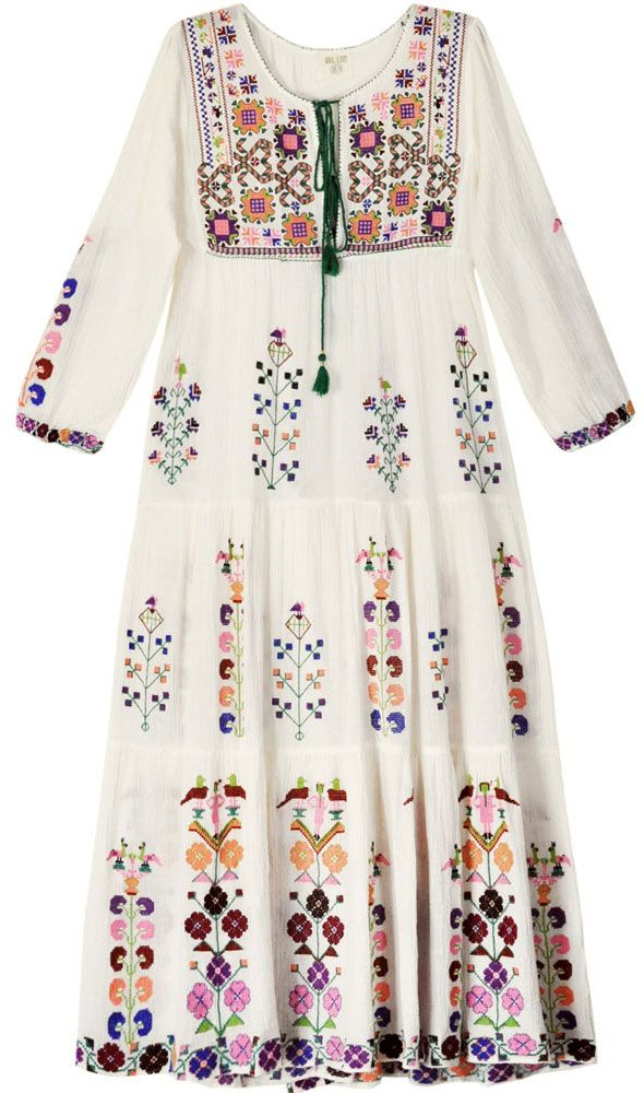 Blue Embroidered Tier Dress