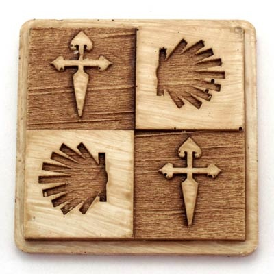 St.James cross and shell magnet. Handmade with reconstituted stone finish wood effect. Artcraft of The Way of St.James. Tax free $2.90