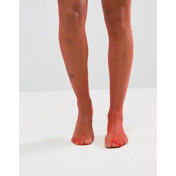 Monki Exclusive Fishnet Tights ($9.52) ❤ liked on Polyvore featuring intimates, hosiery, tights, red, fishnet tights, fishnet stockings, high waisted tights, transparent tights and red pantyhose